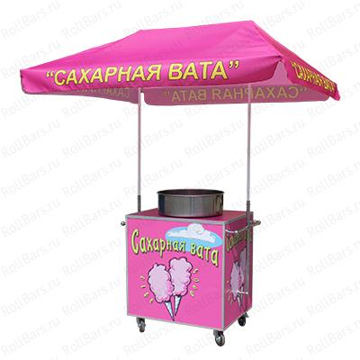 Торговая тележка для продажи сахарной ваты с зонтом